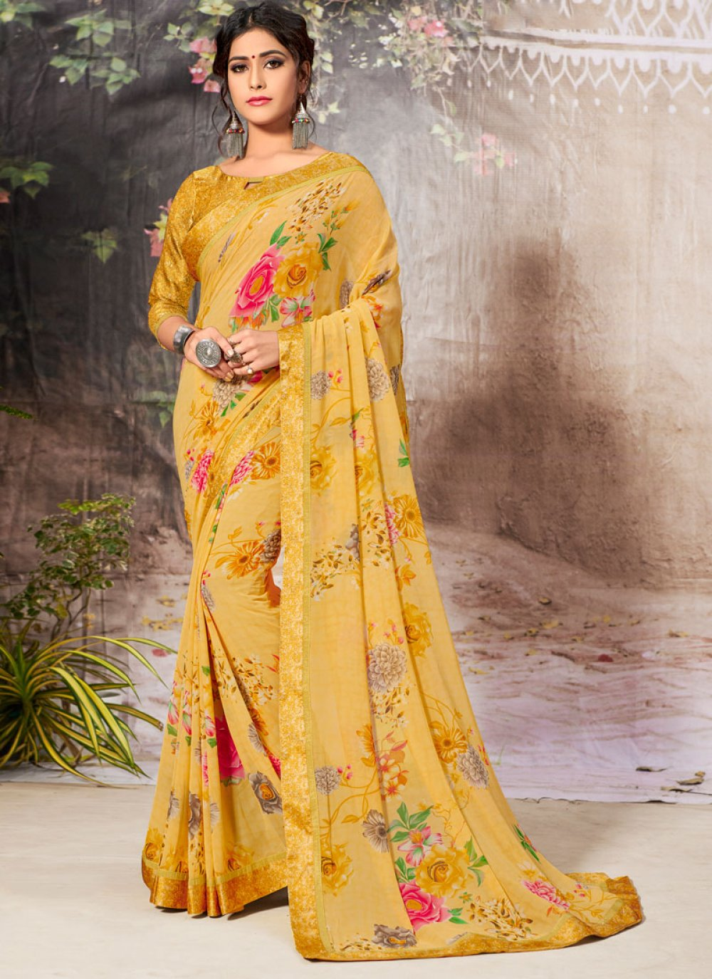 Yellow Border Faux Georgette Casual Saree