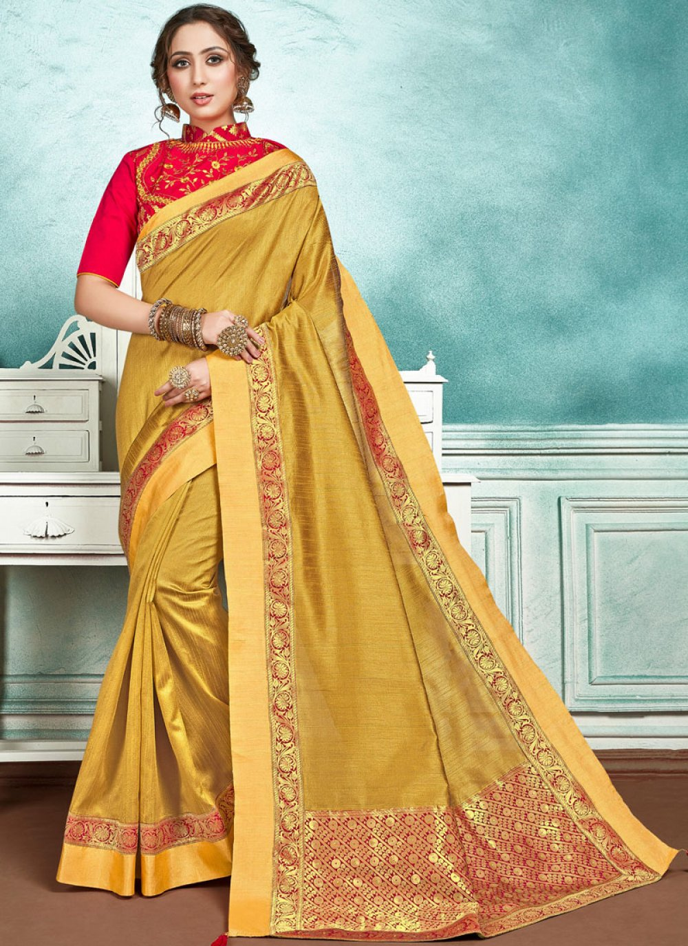 Yellow Border Jute Silk Designer Saree
