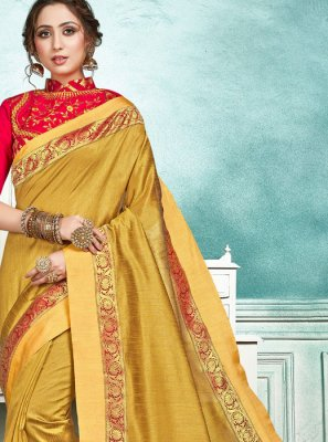 Yellow Border Jute Silk Designer Saree