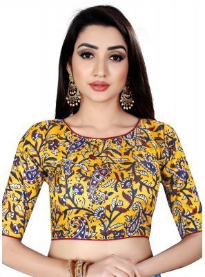 Yellow Brocade Party Designer Blouse