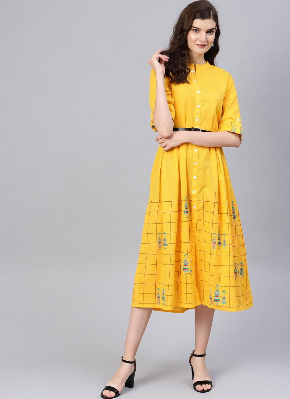 Yellow Casual Casual Kurti