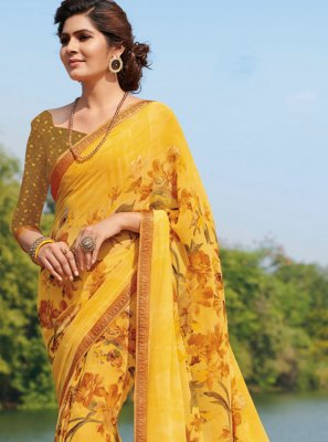 Yellow Casual Georgette Classic Saree