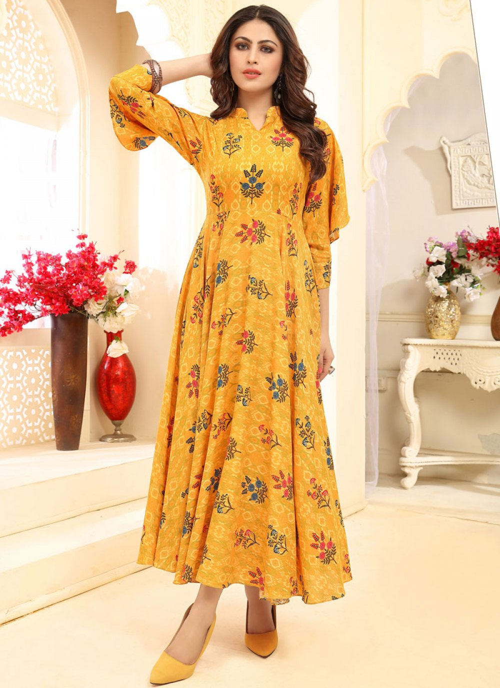 Yellow Casual Rayon Designer Gown
