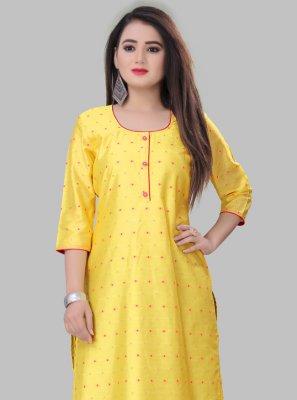 Yellow Casual Silk Casual Kurti