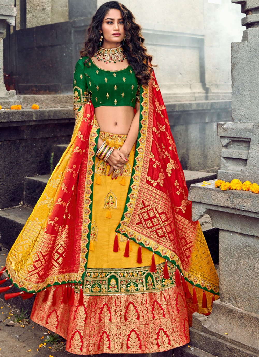 Yellow Ceremonial Designer Lehenga Choli