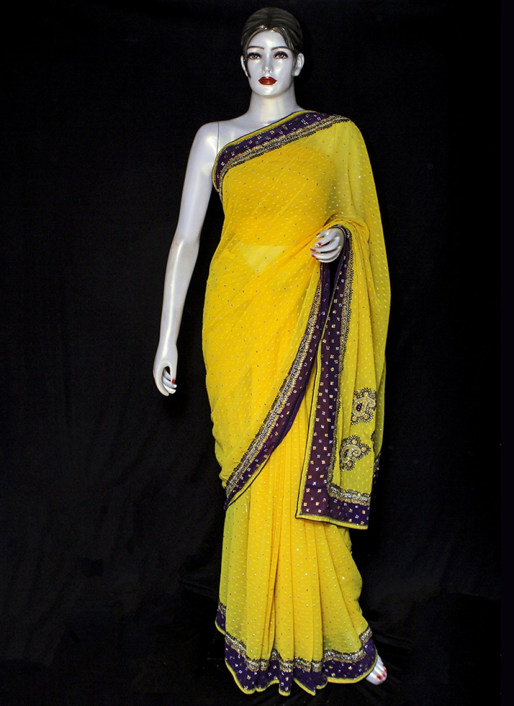 Yellow Ceremonial Designer Saree