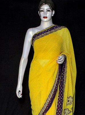 Yellow Ceremonial Designer Saree