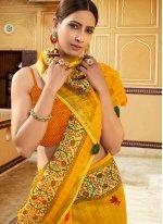 Yellow Ceremonial Printed Saree