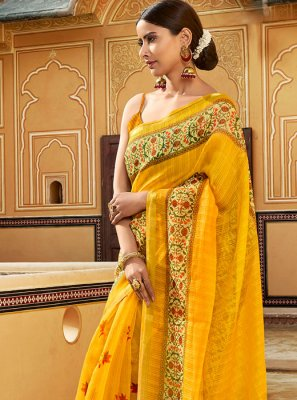 Yellow Ceremonial Printed Saree