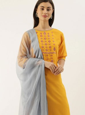 Yellow Chanderi Embroidered Pant Style Suit