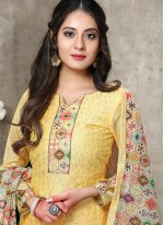 Yellow Chanderi Embroidered Trendy Salwar Kameez