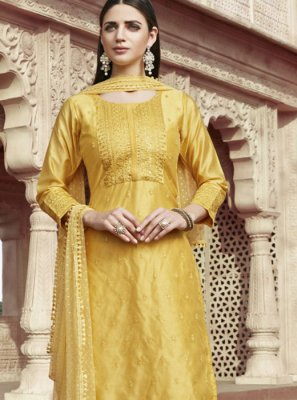 Yellow Chanderi Fancy Readymade Suit