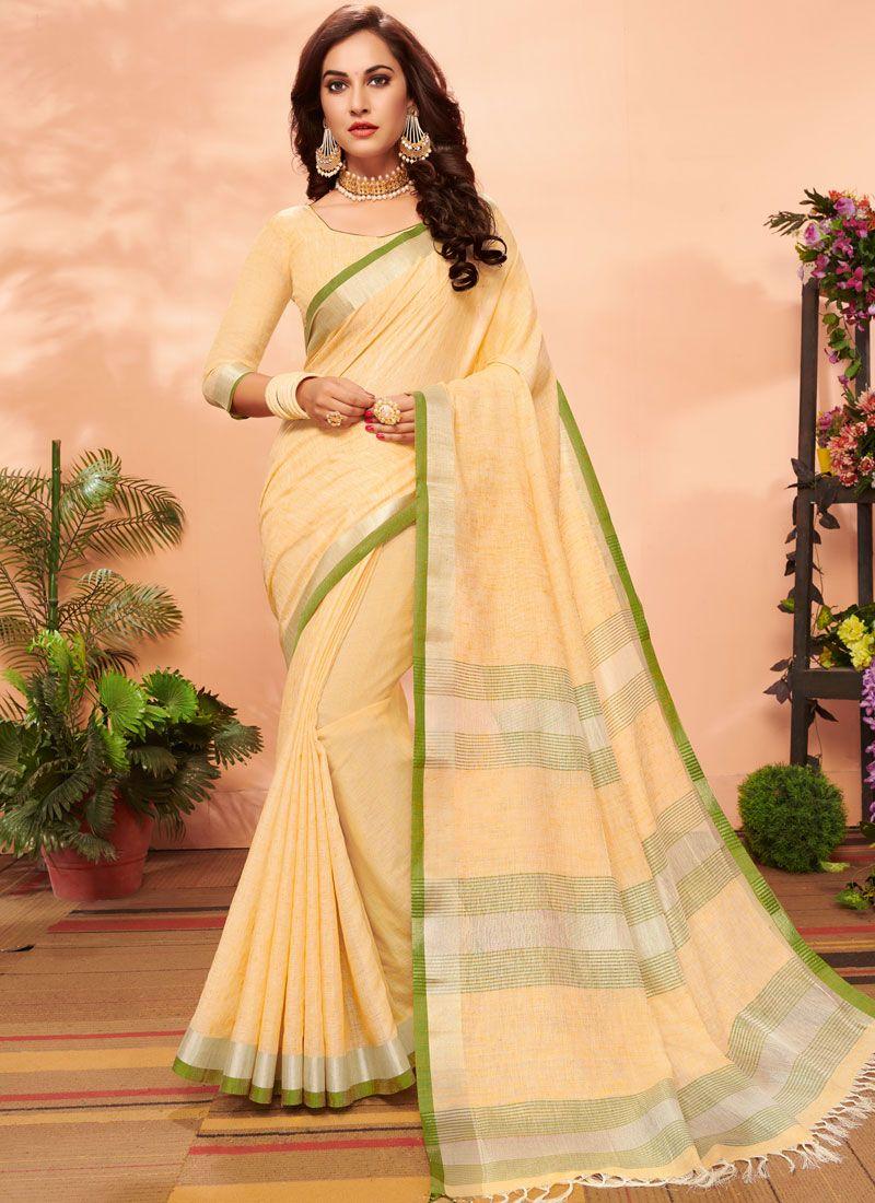 Yellow Color Casual Saree