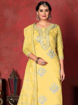 Yellow Color Churidar Designer Suit