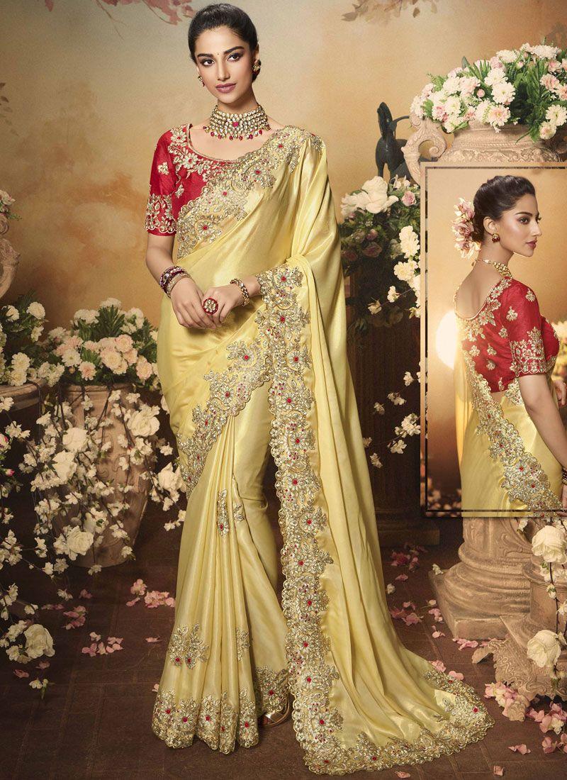 Yellow Color Classic Saree