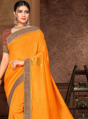 Yellow Color Contemporary Saree