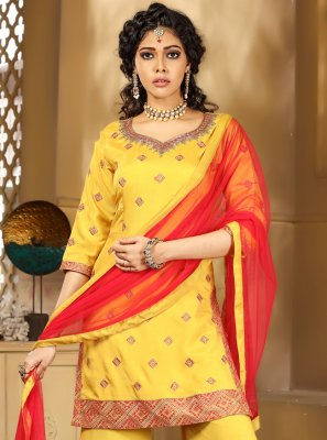 Yellow Color Designer Palazzo Salwar Suit