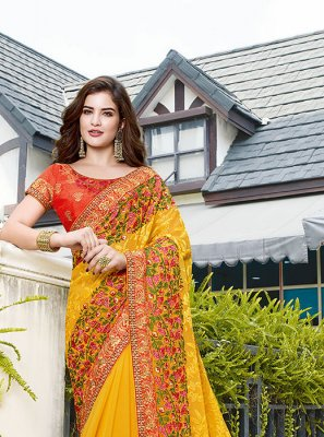 Yellow Color Designer Traditional Saree