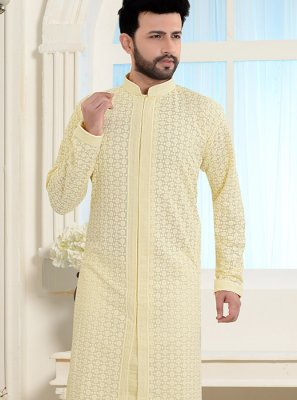 Yellow Color Kurta Pyjama