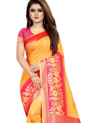 Yellow Color Traditional Designer Saree