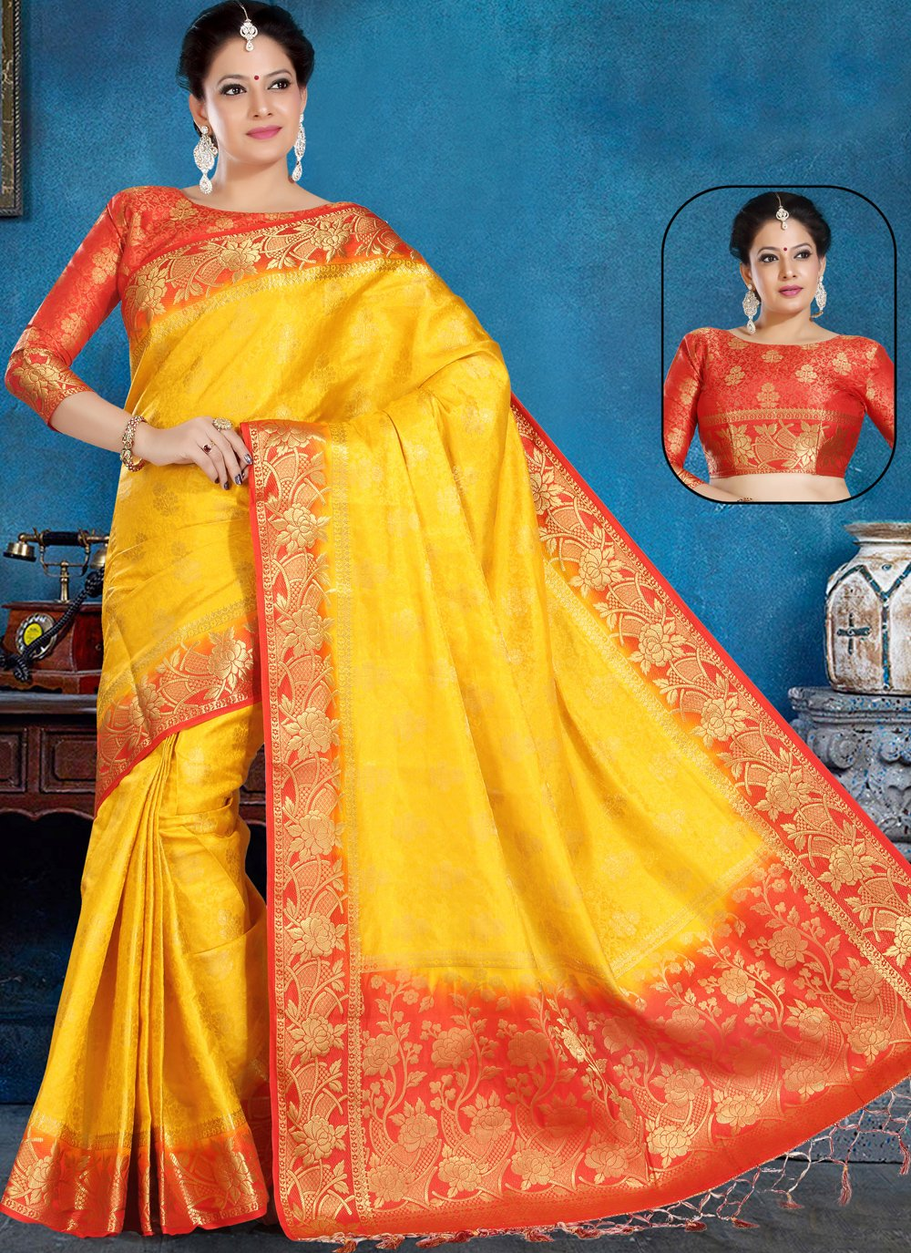 Yellow Color Traditional Saree