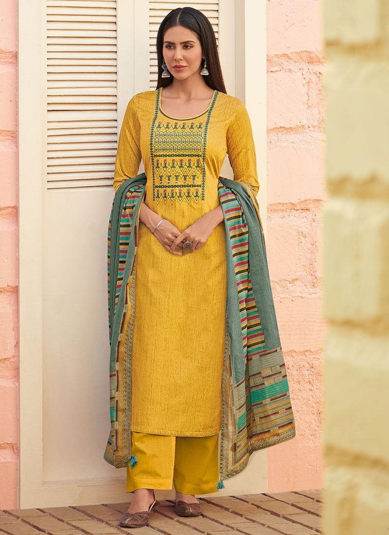 Yellow Color Trendy Palazzo Suit