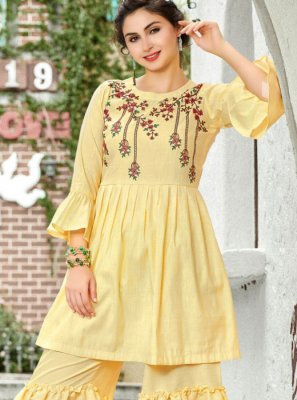 Yellow Cotton Designer Pakistani Salwar Suit