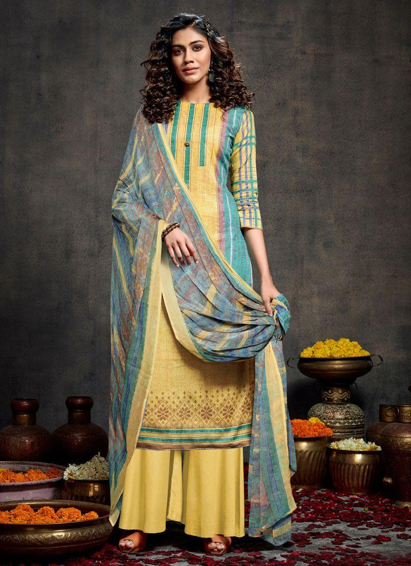 Yellow Cotton Designer Palazzo Salwar Kameez