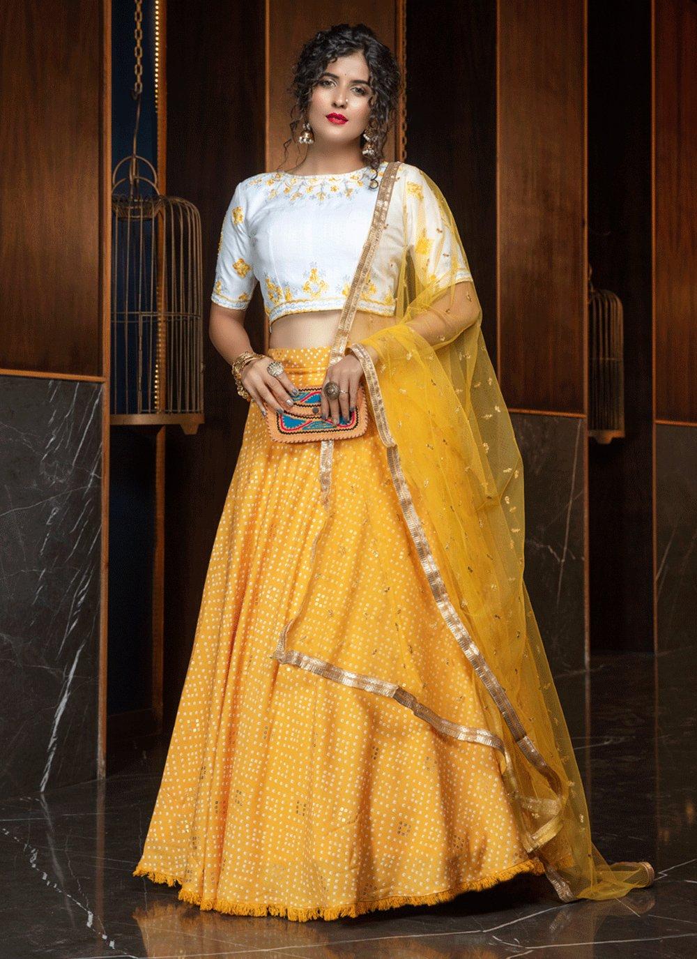 Yellow Cotton Engagement Lehenga Choli