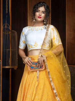 Yellow Cotton Engagement Lehenga Choli
