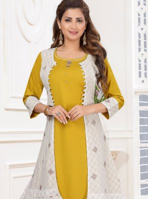 Yellow Cotton Festival Anarkali Salwar Suit