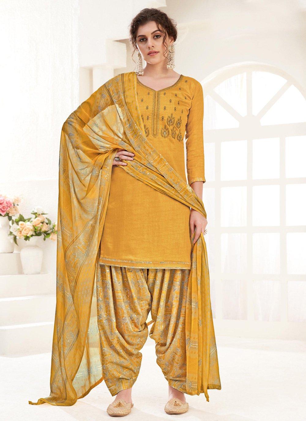 Yellow Cotton Festival Trendy Suit