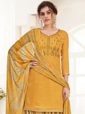 Yellow Cotton Festival Trendy Suit
