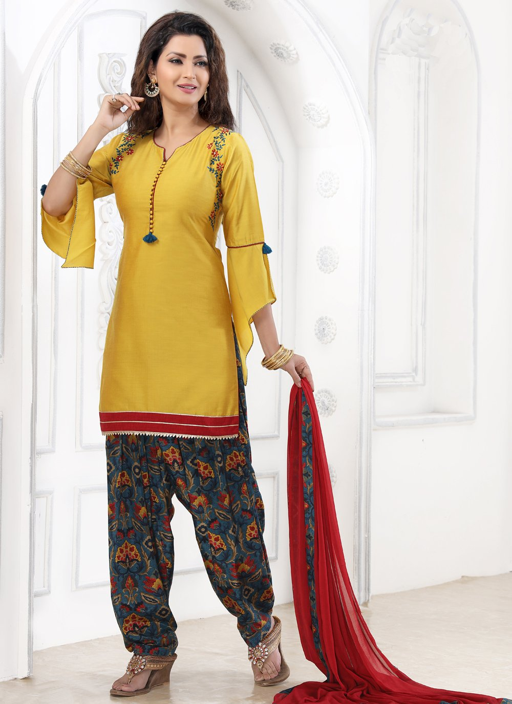 Yellow Cotton Patiala Suit