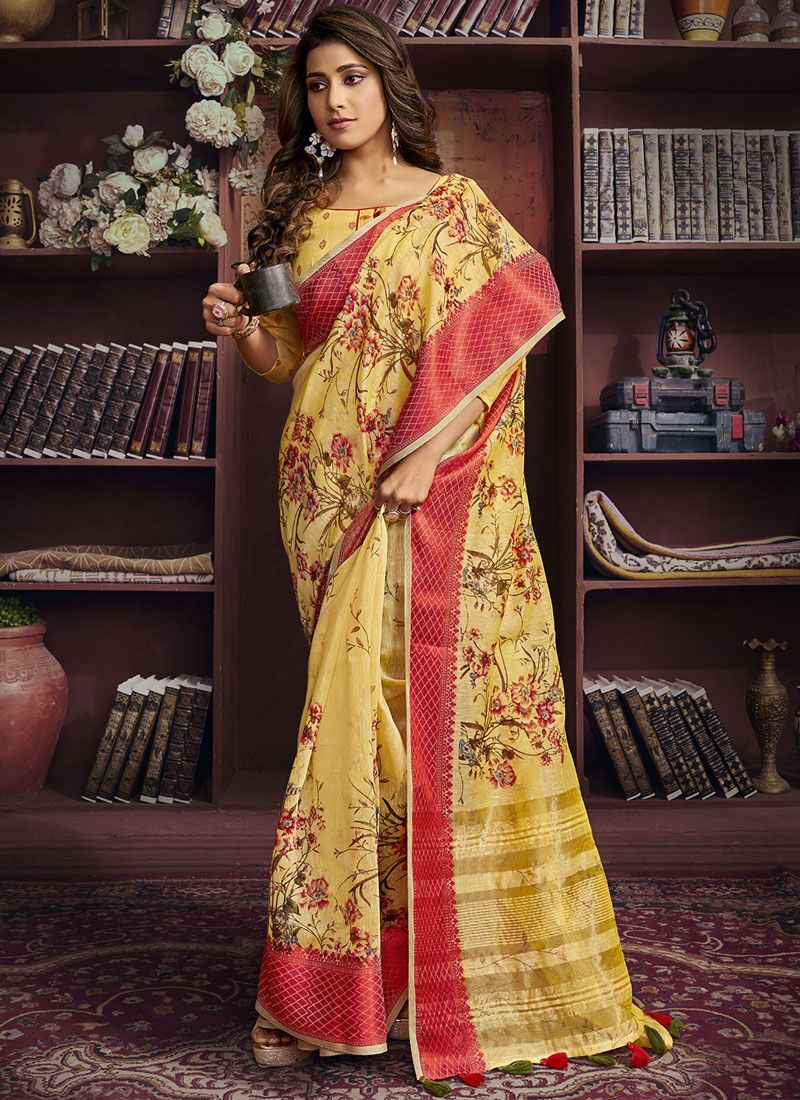 Yellow Cotton Printed Saree