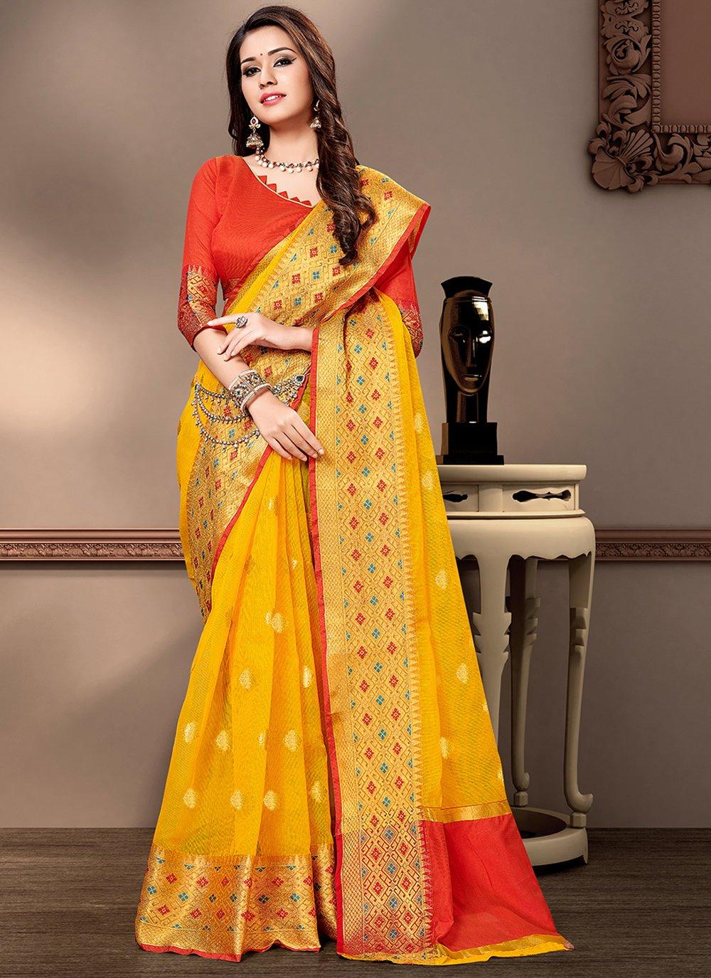 Yellow Cotton Silk Contemporary Saree