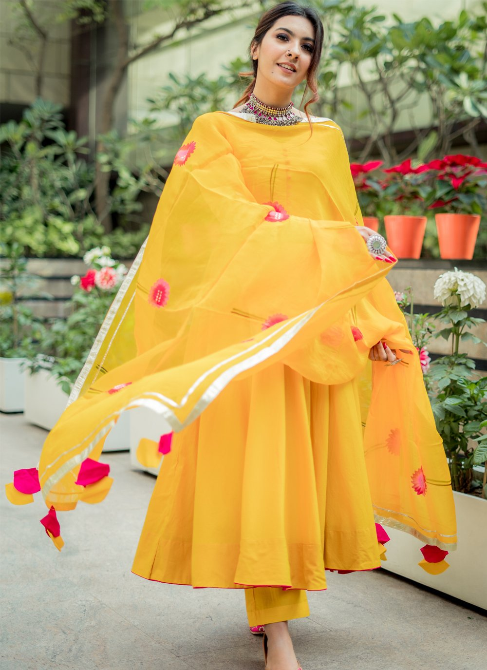Yellow Cotton Trendy Salwar Suit