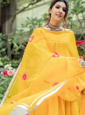Yellow Cotton Trendy Salwar Suit