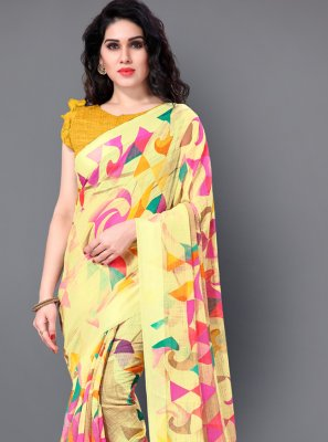 Yellow Cotton Trendy Saree