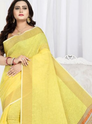 Yellow Cotton Weaving Trendy Saree