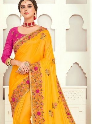 Yellow Designer Poly Silk Trendy Saree