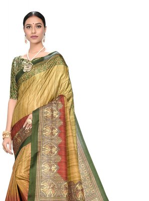 Yellow Digital Print Festival Printed Saree