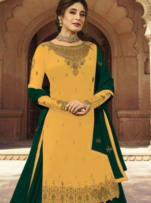 Yellow Embroidered A Line Lehenga Choli