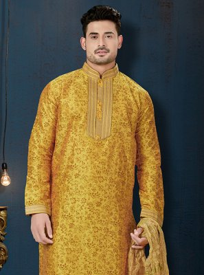 Yellow Embroidered Art Dupion Silk Kurta Pyjama