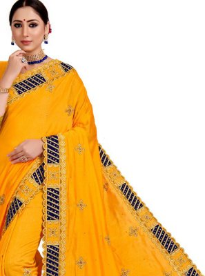 Yellow Embroidered Art Silk Designer Saree