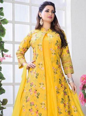Yellow Embroidered Art Silk Trendy Anarkali Salwar Kameez