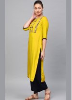Yellow Embroidered Casual Kurti