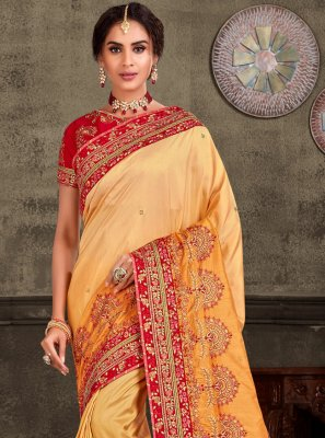 Yellow Embroidered Ceremonial Classic Saree