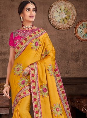 Yellow Embroidered Ceremonial Designer Saree
