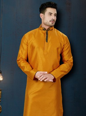 Yellow Embroidered Ceremonial Kurta Pyjama